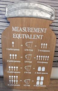 LARGE WOOD & METAL BOTTLE SHAPE KITCHEN MEASUREMENT WALL SIGN COOKING UK SELLER