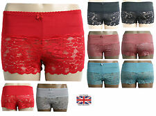 New Womens Ladies Half French Sexy Lace Knickers Boxer Boy Shorts Size M XL 8 14