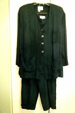 MZM Sport Forest Green Rayon 3 Piece Tank Jacket Pant Suit Size L