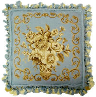 "16""x16"" Handmade Wool Needlepoint Flower Bouquet French Blue Pillow with Tassels"