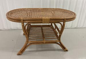 Vintage Oval Rattan Wicker Coffee Table W 1 Tier Shelf Bamboo bohemian Table