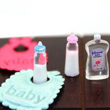 1:12 Dolls House Miniature Baby Bottles Shampoo Bibs Set Nursery Accessory Pip