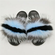 Fox fur Shoes Slippers, Real Fox Fur, Large Size Fur Slippers, Light Yellow