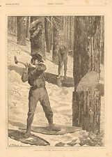 Winslow Homer, Lumbering In Winter, Snow Shoes, Vintage 1871 Antique Art Print