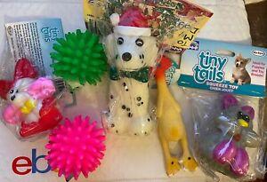 Vo-Toys Votoys Small Dog Toy Lot SIX toys porcupine chicken mouse Dalmatian kitt