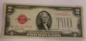 1928-G $2 TWO DOLLAR RED SEAL NOTE Circulated Condition (Dutch Auction)  M56