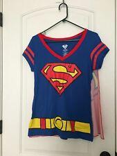 Superman Women's T-Shirt With Removable Cape DC Comics Costume Sz XL Top