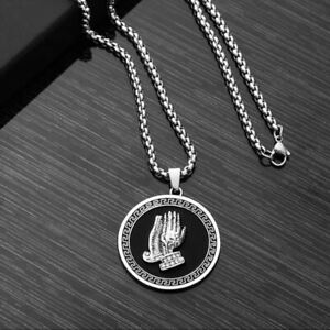 """Stainless Steel  Lord's Prayer Praying Hands Pendant Necklace For Men Women 24"""""""