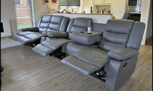 ROMA RECLINING CORNER SOFA 3+2  - CINEMA CUP HOLDER OPTION - grey