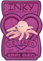 TY Beanie Babies BBOC Card - Series 3 Retired (MAGENTA) - INKY the Tan Octopus