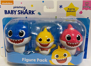 Baby Shark 3 Figure Pack Pinkfong Mommy Daddy Song 2020 Nickelodeon New & Sealed