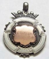 Sterling Silver with Gold Cartouche Antique Vintage 1913 Fob Medal