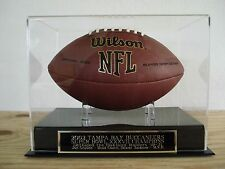 Football Display Case With A Tampa Bay Bucaneers Super Bowl 37 Nameplate