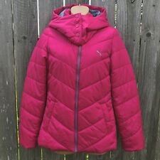 Puma Women's S Hot Pink Puffer Coat with Hood Polyester Padded Hip Length NWOT