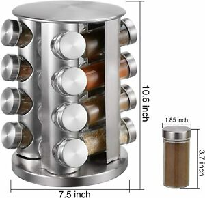 16pc Stainless Steel Glass Spice Herb Rack Jar Revolving Rotating Stand Holder