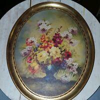 "Vintage Turner oval picture De Camp Florals  11"" x 9"" cardboard picture flaw"