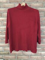 J. Jill Red Ribbed Turtleneck Top 3/4 Sleeve 100% Cotton Women's Size XL