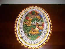 New Handmade Oval Crochet Doily--Rooster/Chickens/Sunflowers
