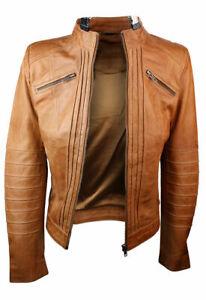 New Women Ladies Biker Brown Genuine Real Leather Jacket