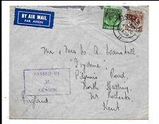MALAYA SINGAPORE 1939 CIVIL CENSORSHIP (No 37) 55c RATE TO KENT