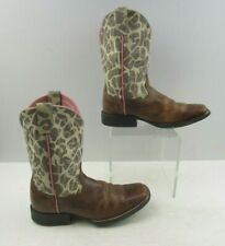 Girls Ariat Brown Leather Western Cowgirl Boots Size : 2