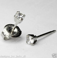 LONG POST Ear Piercing Studs Earrings Silver Mini 3mm Clear CZ Studex System 75