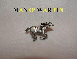 NEW MAN O WAR HAND PAINTED HORSE RACING JOCKEY SILKS PIN