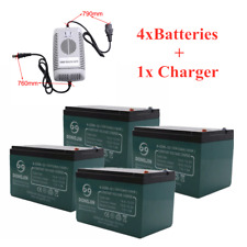 4 pcs 12V 12Ah 6-DZM-12 Rechargeable Battery + 48V Charger Electric Scooter ATV