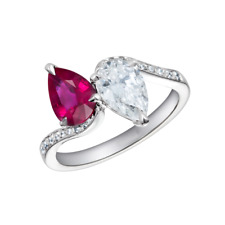 3Ct Pear Cut Pink Ruby Diamond Two Stone Engagement Ring 14K White Gold Finish