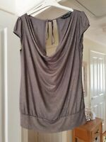 Dorothy Perkins Gold Shimmer Draped Neck Top, Cap Sleeves, Size 10, VGC