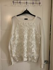 F&F White Thin Knit Floral Lace Jumper Top Size 10/12