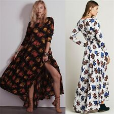 Womens Formal Summer Beach Floral Printed Evening Party Maxi Long Boho Dress