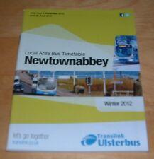 NEWTOWNABBEY AREA TRANSLINK ULSTERBUS  BUS TIMETABLE - WINTER 2012 - NEW UNUSED