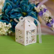 50x Lovers Date Laser Cut Candy Gift Boxes W/Ribbon Wedding Favors sweets Boxes