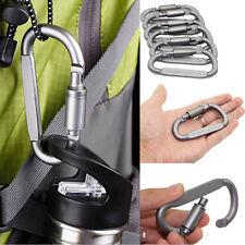 5x Outdoor Aluminum D-Ring Screw Locking Carabiner Hook Clip Climbing Keychain