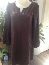 LA CITY robe tunique courte manche longue lin viscose marron Taille 42
