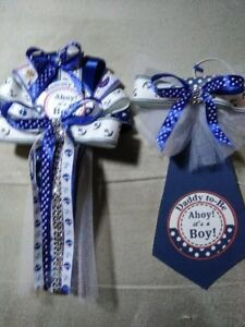 Nautical Theme Mommy corsage &  Daddy Tie To Be