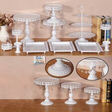 12 Pcs Amalfi Decor Glass Top Cake Stand Set Round Metal Wedding Cupcake Tower