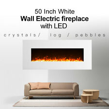 """1500W 50"""" White frame Wall Mounted Electric Fireplace Heater with realistic fire"""