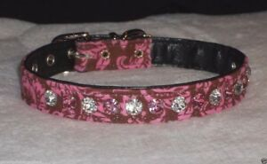 Deluxe Rhinestone Dog Collar pink & clear crystal jewels Bling chocolate damask