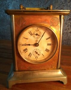 Antique Seth Thomas Carriage Clock brass copper for Parts or Repair