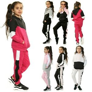Girls Tracksuit Kids Jogger Sports School Gym Running Fleece Top Bottom Zip Up