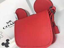 Coach Disney Patricia Saddle in Glove Calf Leather Mickey Ears F59369 $395.00