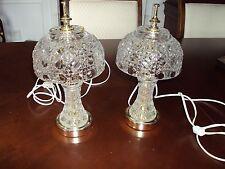 Beautiful Pair Of Vintage Crystal Table Lamps Victorian Vanity Boudoir Heavy