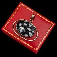 Antique Vintage Mid Century Modernist Sterling Silver Snowflake Obsidian Pendant