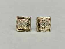Estate Sale 14K Tri Color Gold 10mm Square Post Earrings