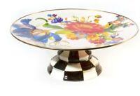 """MacKenzie-Childs Flower Market Enamel Pedestal Platter - White  16"""" dia, 6"""" tall"""