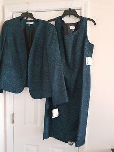 NWT Kasper 2 pc Sheath Dress & Jacket Suit Mallard Black Lined Sz 14 - $218