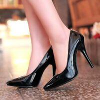 Pleaser vanidad 420 Elegante Negro Patente Tribunal Zapatos Tacón Alto Puntera en Punta bombas