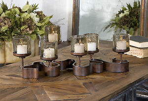 "RIBBON XL 24"" AGED BRONZE METAL CANDELABRA CANDLE HOLDER GLASS GLOBES UTTERMOST"